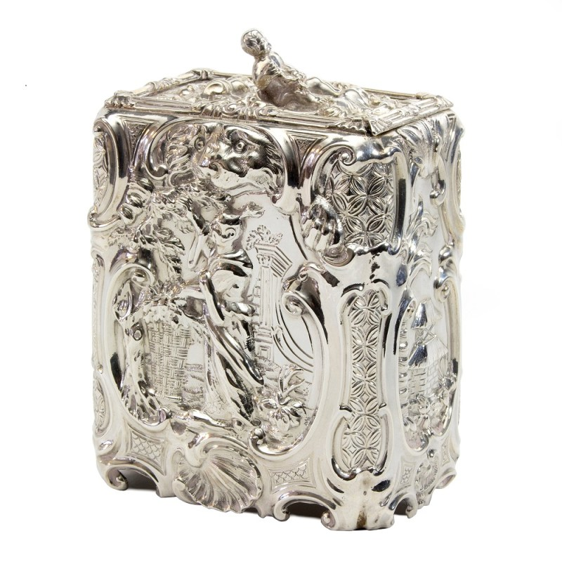 This silver tea caddy by Thomas Heming