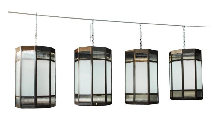A set of industrial lanterns at Bath Decorative Antiques Fair