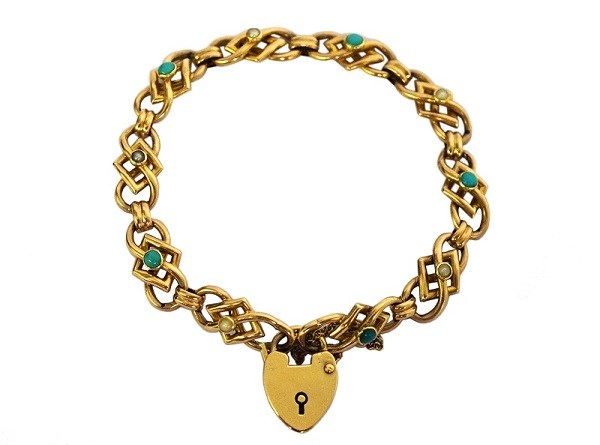 9ct gold heart lock bracelet with turquoise and seed pearls, c1900s £895 - Aurum