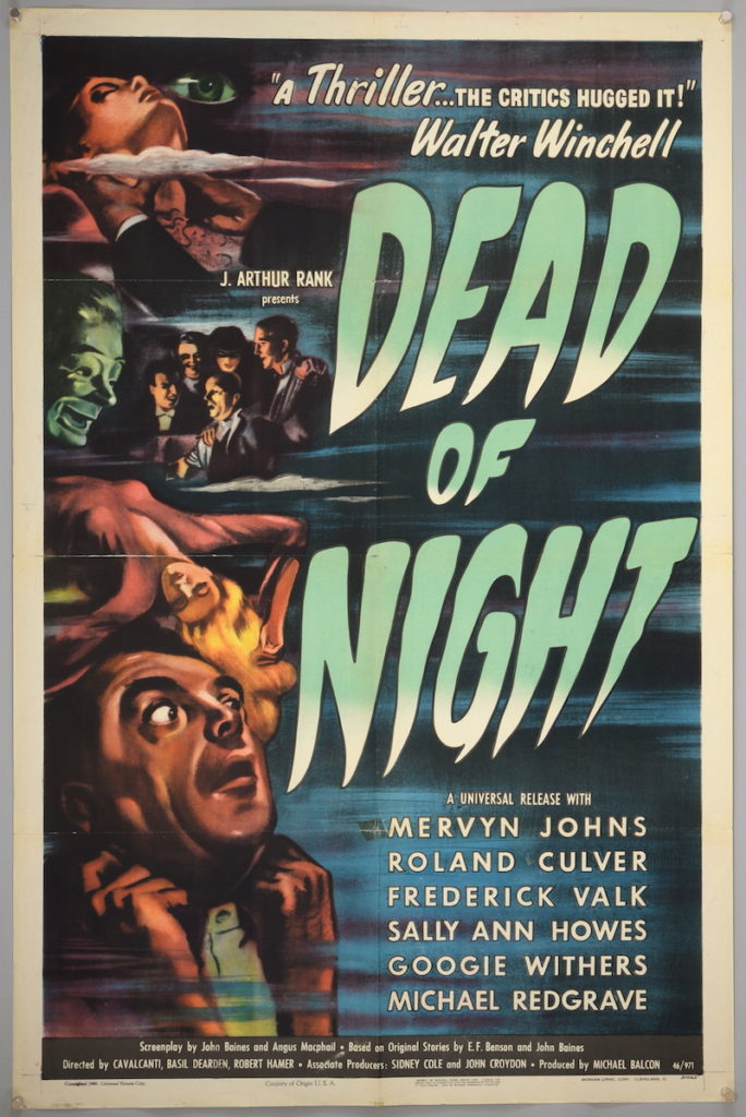 A vintage film poster for the 1946 English horror film, Dead of Night