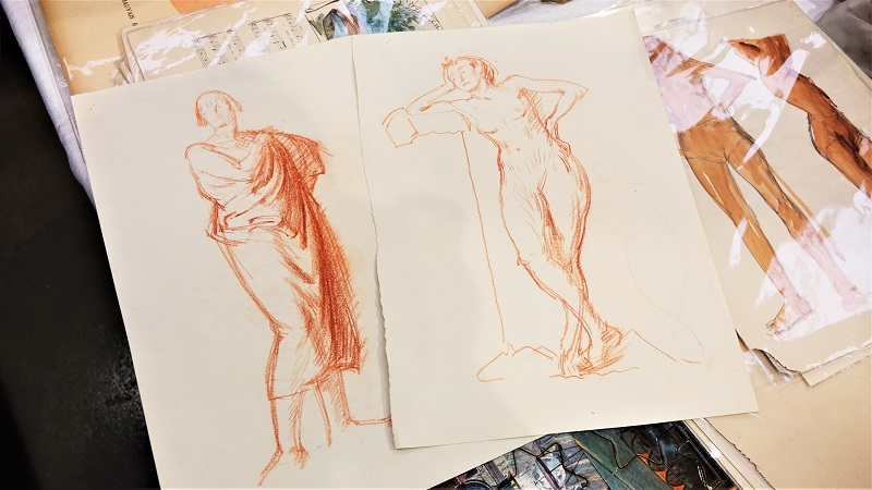 sepia life-drawing sketch studies by artist L. Gladstone