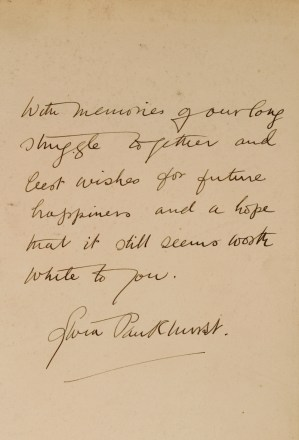 The handwritten note by Sylvia Pankhurst in the opening to the book