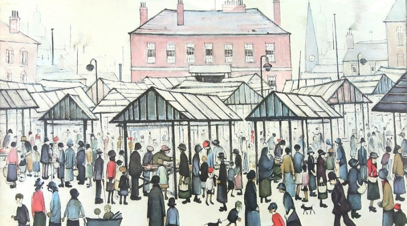 Laurence Stephen Lowry market scene from 1939