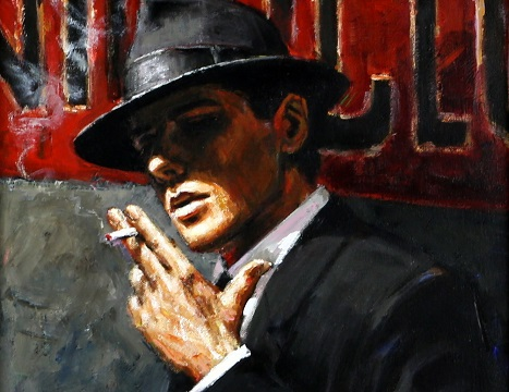 Fabian Perez study for Man at the Red Sign