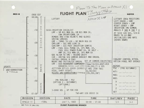 A page from Buzz Aldrin's lunar landing manual