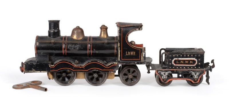 A vintage toy Marklin O Gauge locomotive and tender