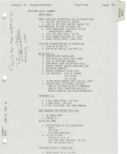 A page from Buzz Aldrin's Mission Rules