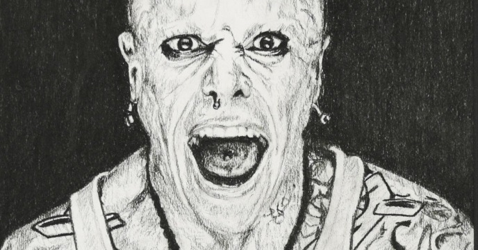 Pencil drawing of Keith Flint from The Prodigy
