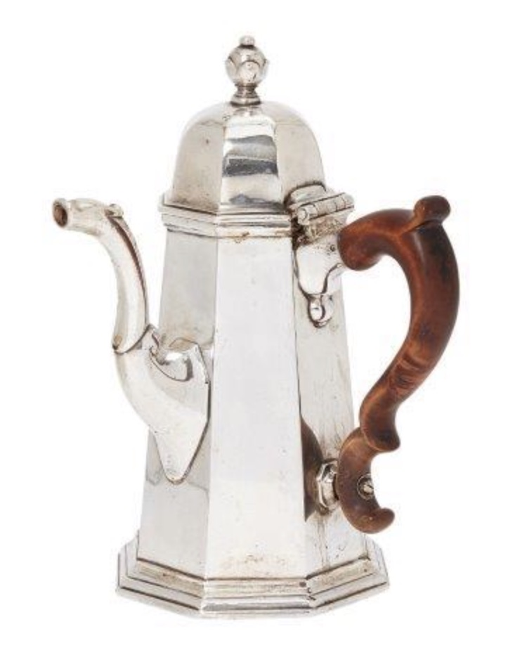 English silver coffee pot