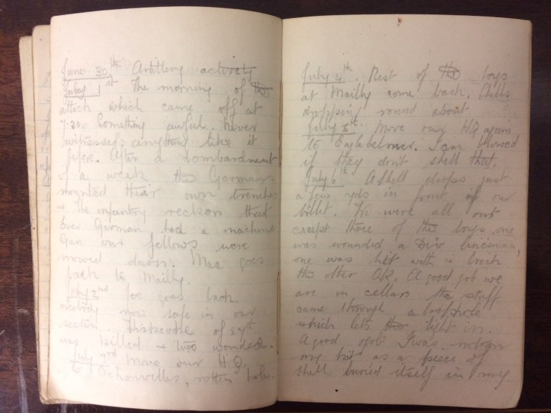 The First World War Somme diary in Hansons sale