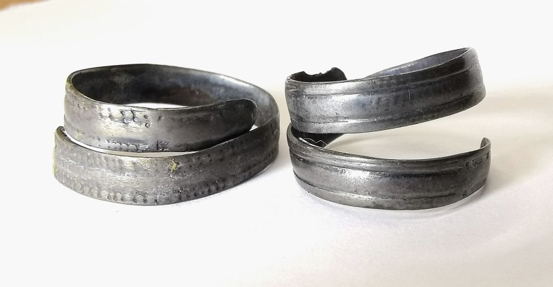 Anglo Saxon silver spiral finger rings