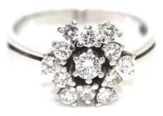 Snowflake diamond cluster and white gold ring