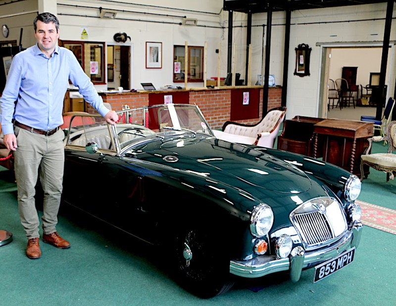 Oliver Miller with the MGA Roadster in The Gentleman's Library Auction (Credit: Daniel Page, Bishop & Miller)