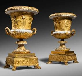 a pair of Louis XVI ormolu and marble models of the Borghese vase