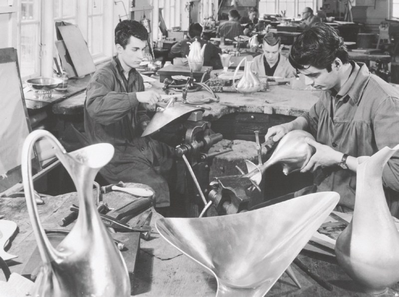 Craftsmen in the Jensen studio work on Henning Koppel's (1918-1981)