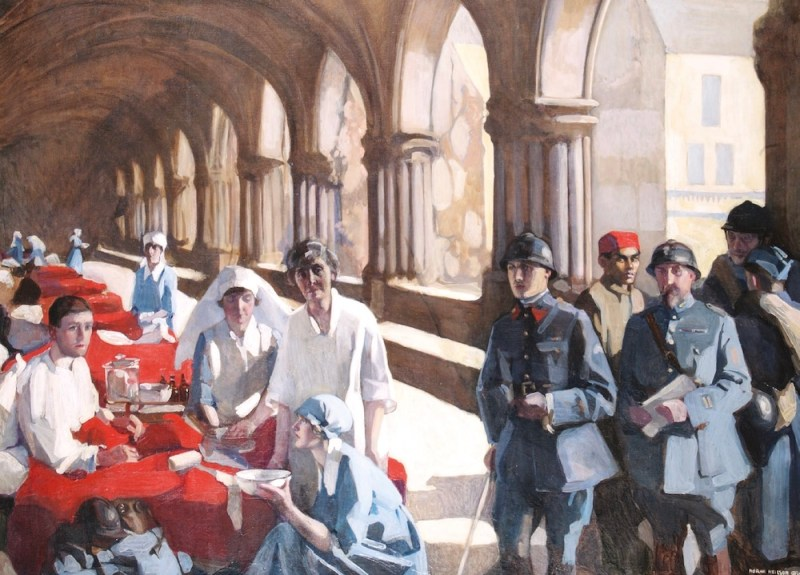 Norah Neilson Gray (1882-1931) The Scottish Women's Hospital: In the Cloister of the Abbaye at Royaumont. Dr Frances Ivens inspecting a French patient, 1920, oil