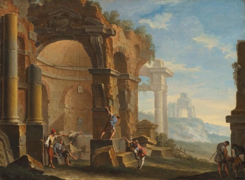Sebastiano Ricci (Belluno 1659-1734 Venice) and Clemente Spera (Novara C.1661-1742 Milan) A capriccio with figures conversing by classical ruins