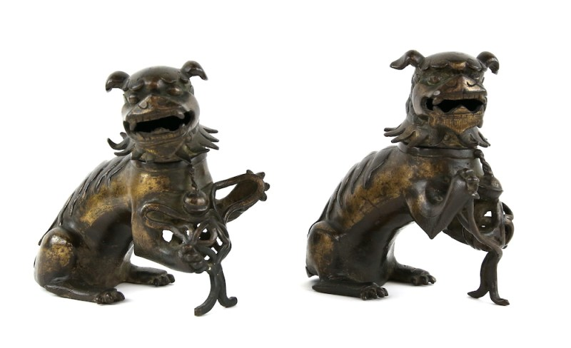 A pair of Chinese gilded-metal alloy incense burners