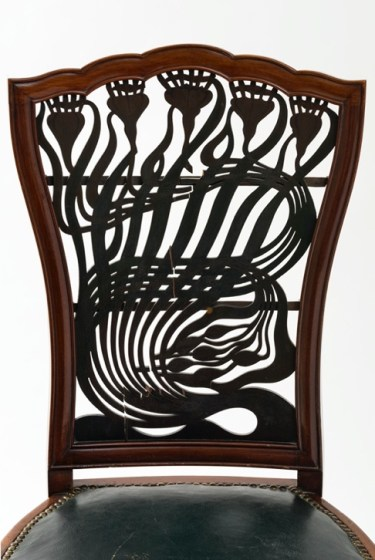 Fretwork on Arthur Mackmurdo mahogany chair