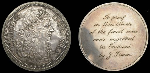 A proof Charles II silver coin by T. Simon