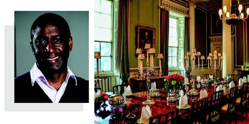 Antiques dealer Lennox Cato and an antique dining table