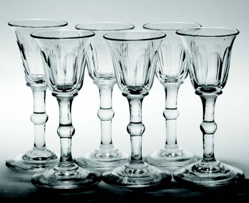 Six 18th and 19th-century port and gin glasses