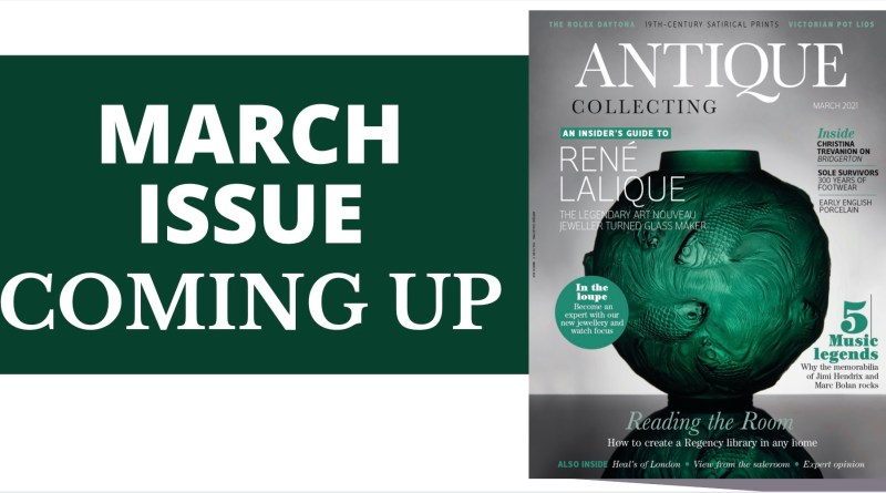 March issue of Antique Collecting magazine cover