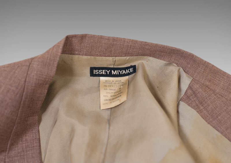 The Issey Miyake label inside David Bowie's suit