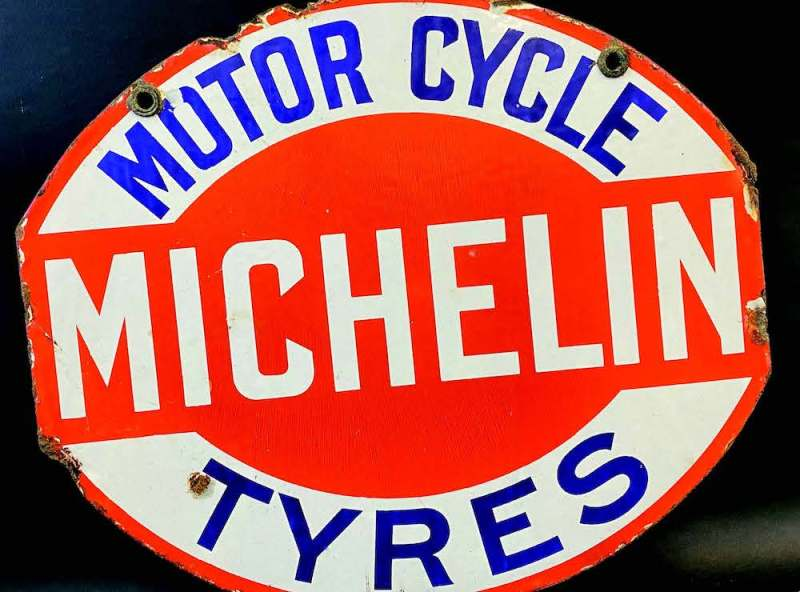 Enamel advertising sign for Michellin motor cycle tyres