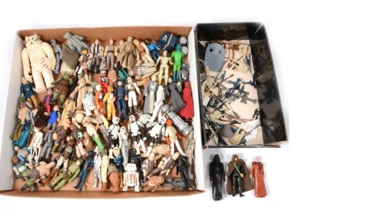 A collection of Star Wars figures