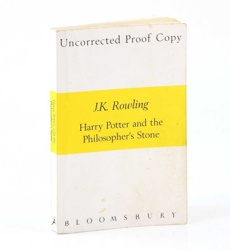 An uncorrected proof first edition copy of Harry Potter and the Philosopher's Stone