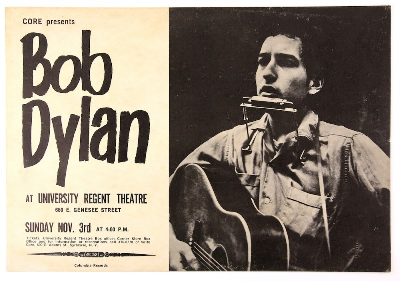 Advertising window card for Bob Dylan