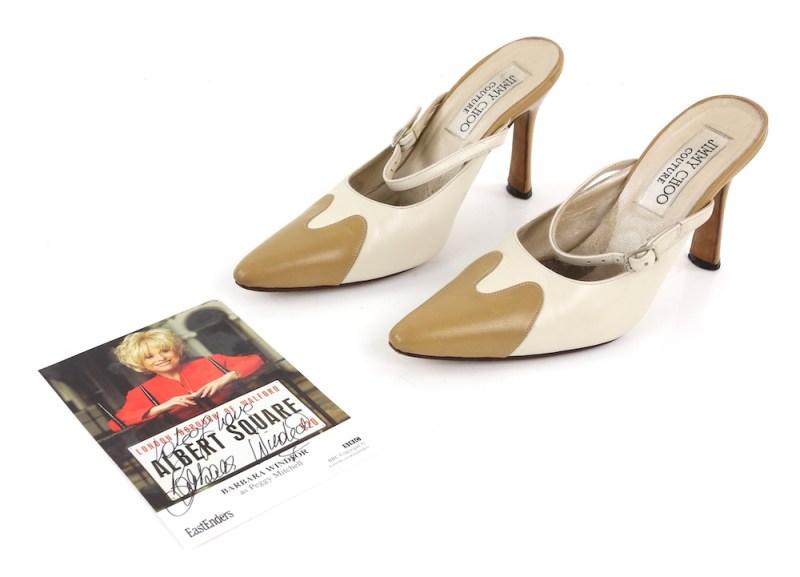 A pair of Jimmy Choo shoes worn by Dame Barbara Windsor on Eastenders