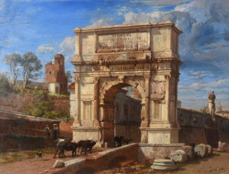 The Arch of Titus at Rome looking towards the capital (lot 56) by Frederick Lee Bridell (1831-1863). Estimate £20,000-£30,000