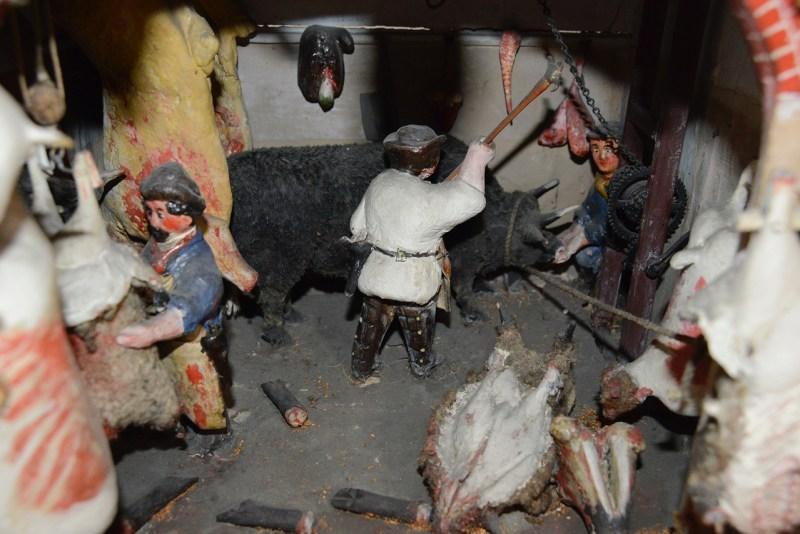 Detail of butchers shop diorama