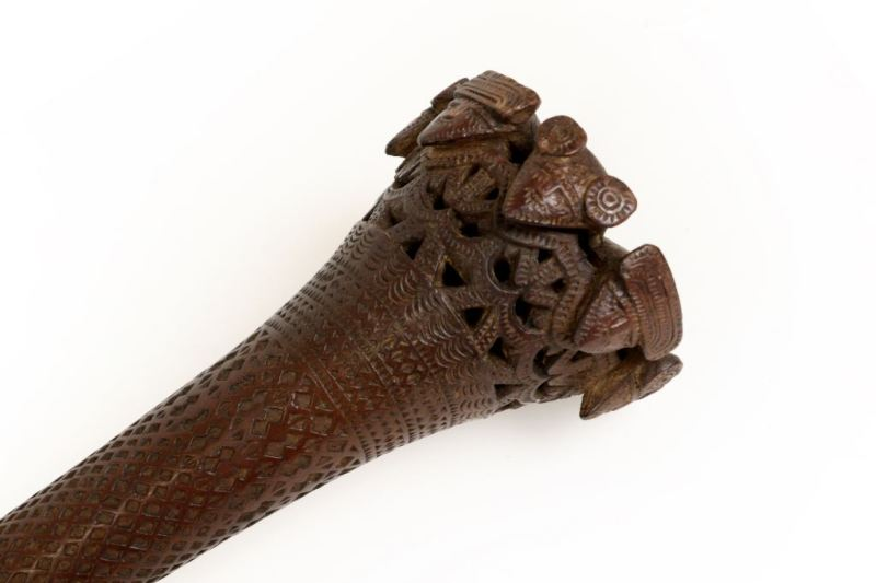 Detail of •A 19th Century Austral Islands Finely Carved Wood Paddle