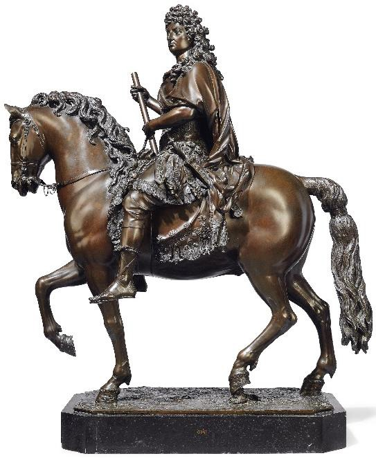the bronze statue of Louis XIV on horseback