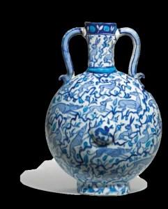 blue and white pilgrim Iznik flask with animals