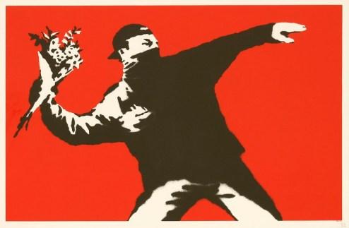 Banksy - Love is in the Air screenprint