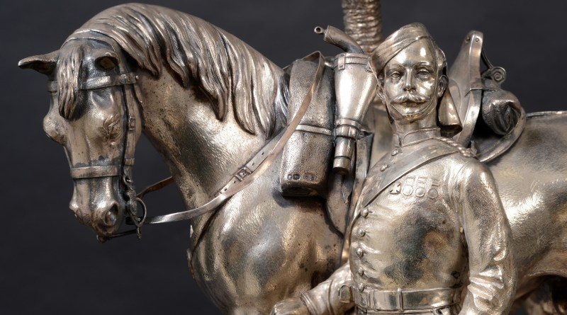9th Lancers silver centrepiece detail