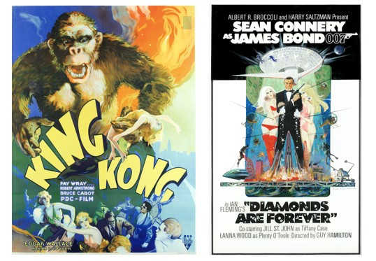 Vintage King Kong film poster and James Bond Diamonds are Forever film poster