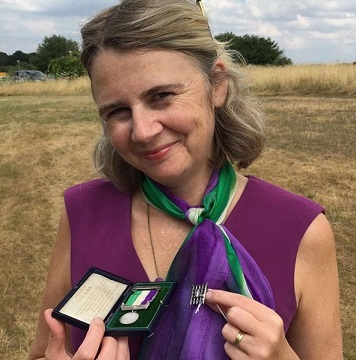 Catherine Southon and Kate Evans Suffragette medal