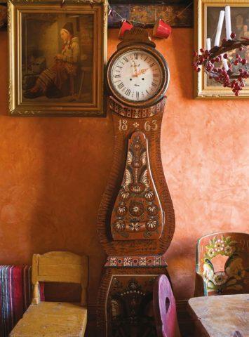 An antique Swedish Mora clock in a modern interior