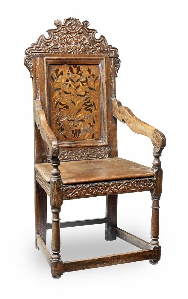 Antique mid-17th century oak armchair