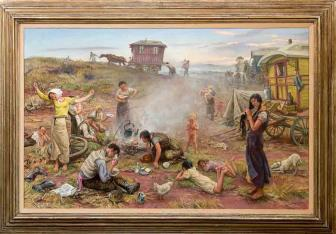 Painting - Early Morning Gypsy Camp for sale at the Petersfield Antiques Fair