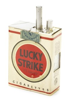 Spy gadgets include this camera disguised as Lucky Strike cigarettes