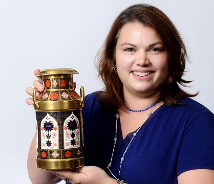 Naomi with Royal Crown Derby churn