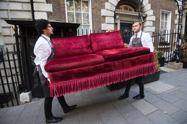 Red velvet sofa in the Annabel's auction next month