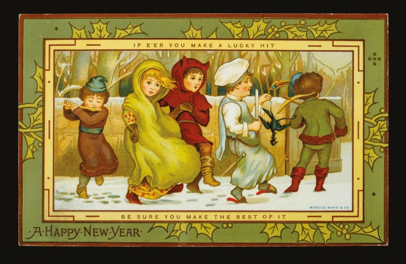 Victorian New Year's greeting card