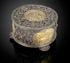 Antique silver filigree toilet box